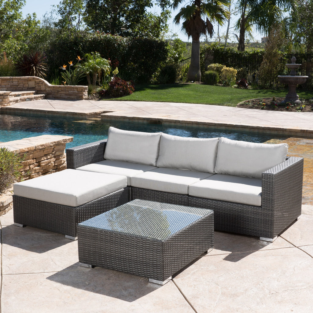 Francisco 5pc Outdoor Grey Wicker Seating Sectional Set w/ Cushions