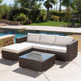 Francisco Outdoor 5-piece Brown Wicker Seating Sectional Set with Cushions