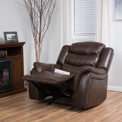 Emryka Brown PU Leather Glider Recliner Club Chair