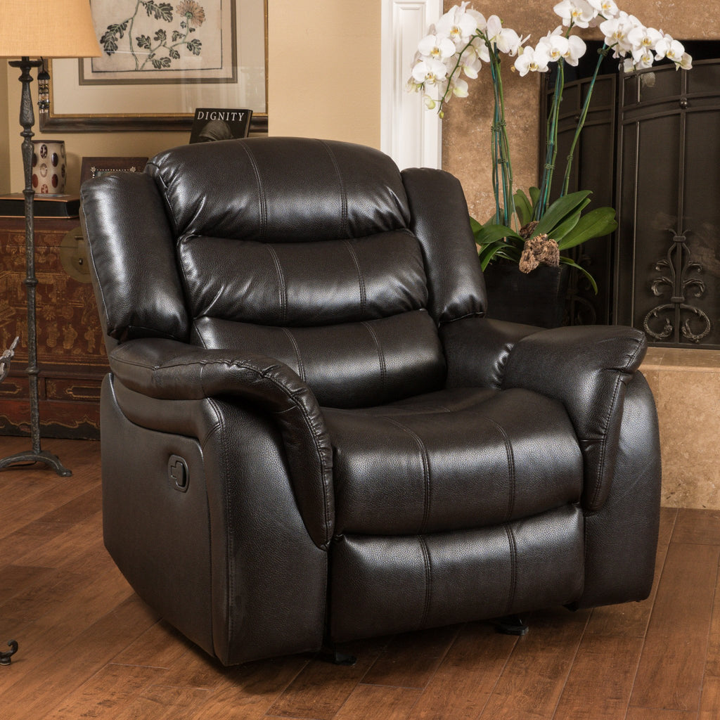 Hayvenhurst Black Leather Recliner/Glider Chair