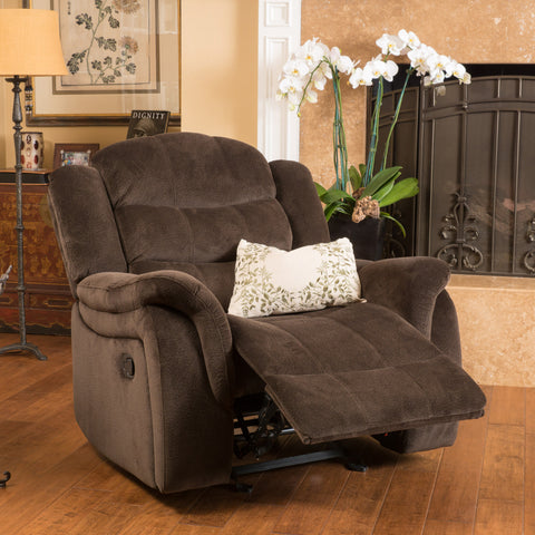Blake Brown Fabric Glider Recliner Club Chair