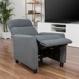 Tahiry Contemporary Upholstered Pillow Top Gray Fabric Push Back Recliner