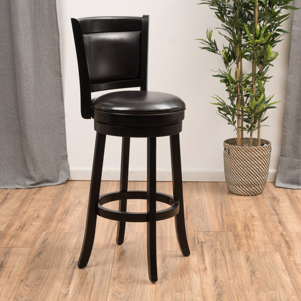 Kyle Brown Leather Swivel Backed Barstool Gdf Studio