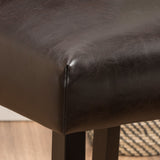Pierre Contemporary Button Tufted Brown Leather Backed Barstools