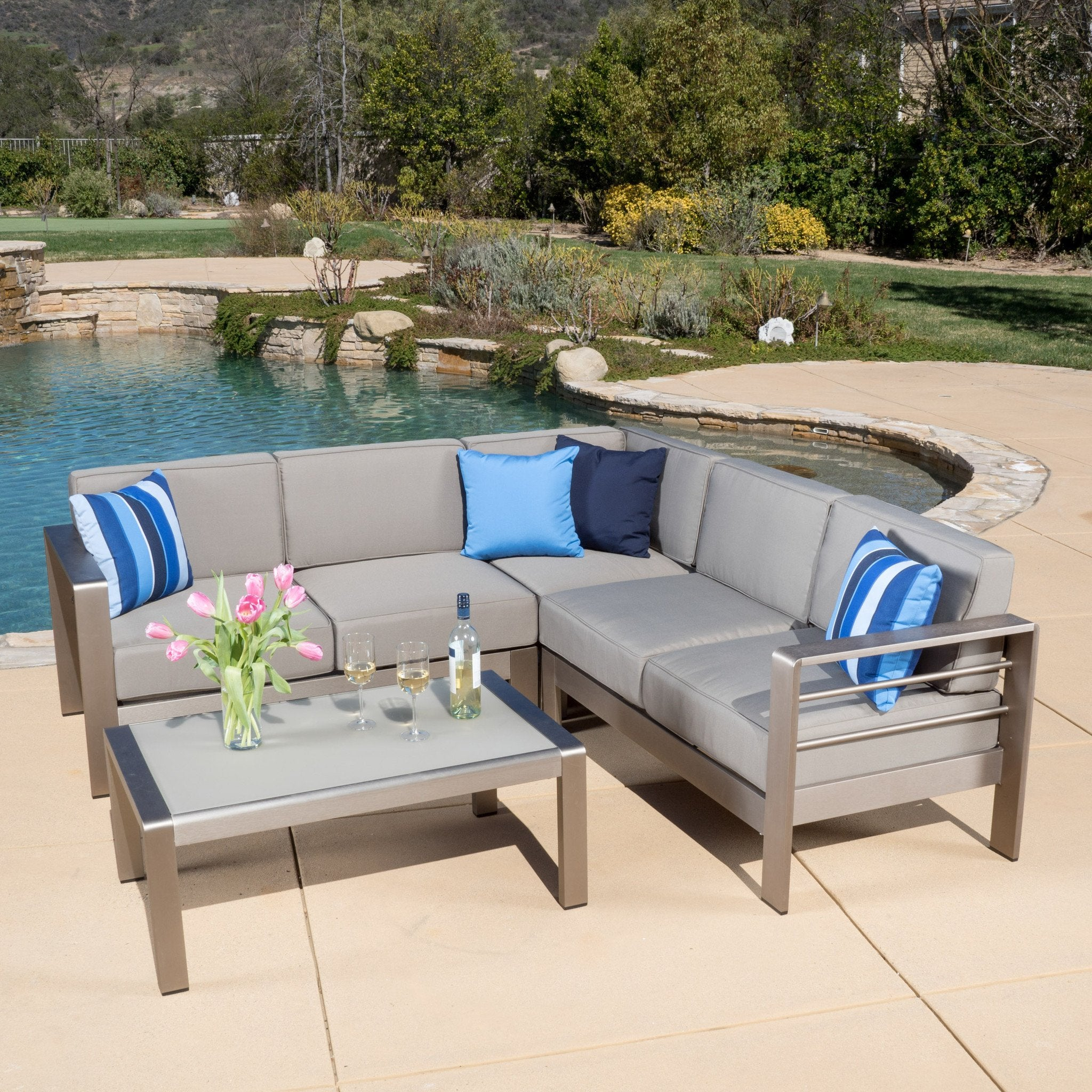 Sonora Outdoor Aluminum Sofa Set Cushions foto