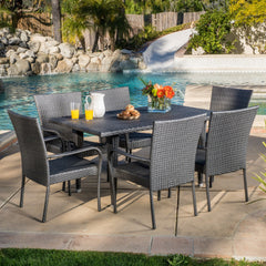 Antonio Outdoor 7-piece Grey Wicker Dining Set
