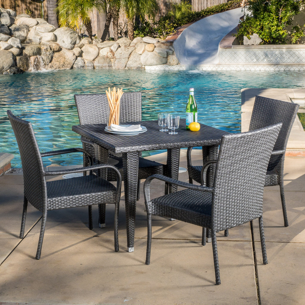 Antonio Outdoor 5-Piece Gray Wicker Dining Set with Stackable Chairs
