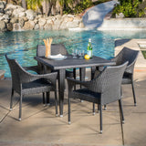 Alameda Outdoor 5-Piece Gray Wicker Dining Set with Stacking Chairs