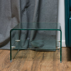 Classon Transparent Glass End Table with Shelf