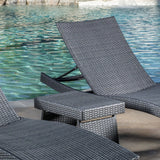 Lakeport Outdoor Grey Wicker 3-piece Adjustable Chaise Lounge Set