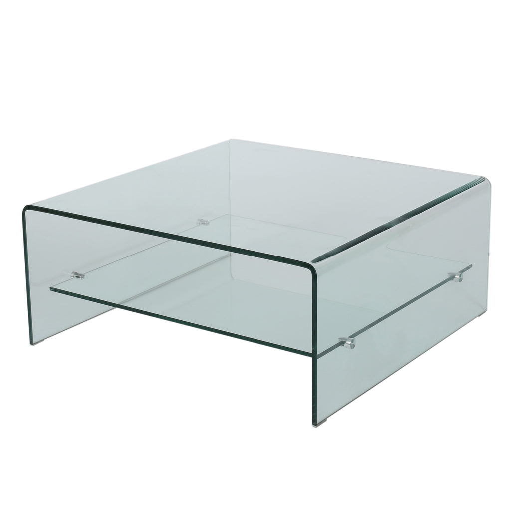 Classon Modern Square Tempered Glass Coffee Table with Shelf