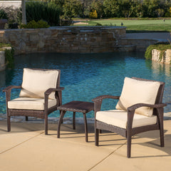 Maui Outdoor 3-piece Brown Wicker Chat Set with Cushions