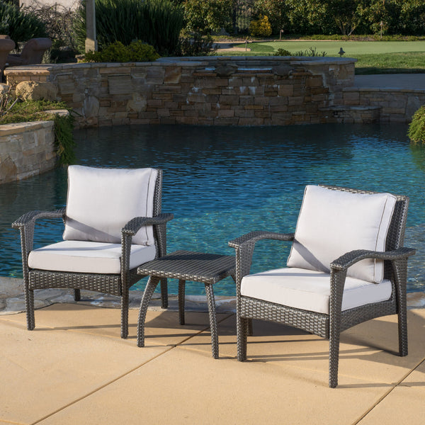 Maui Outdoor 3-piece Grey Wicker Chat Set with Cushions