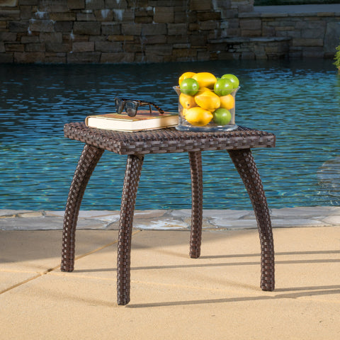 Woodridge Outdoor Brown Wicker Side Table