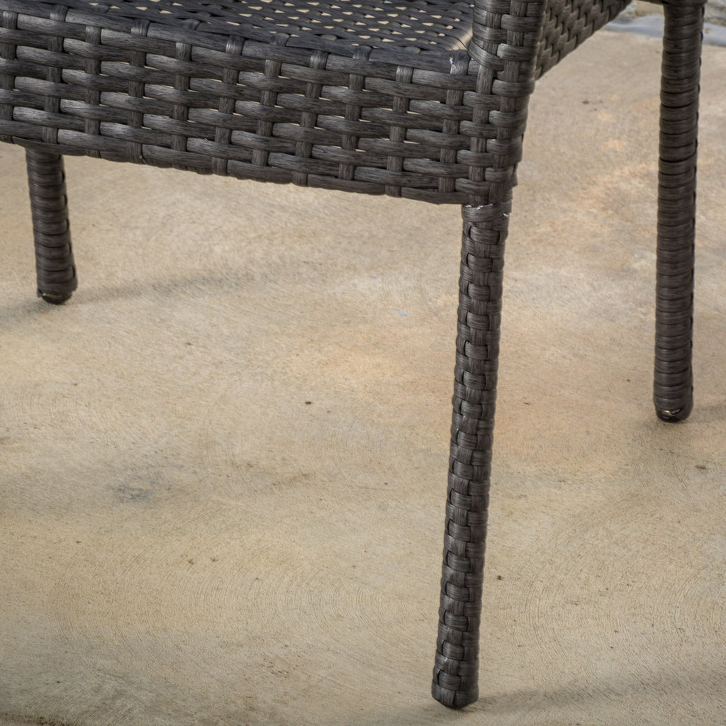Sultana Outdoor Grey Wicker Stackable Club Chairs (Set of 2)