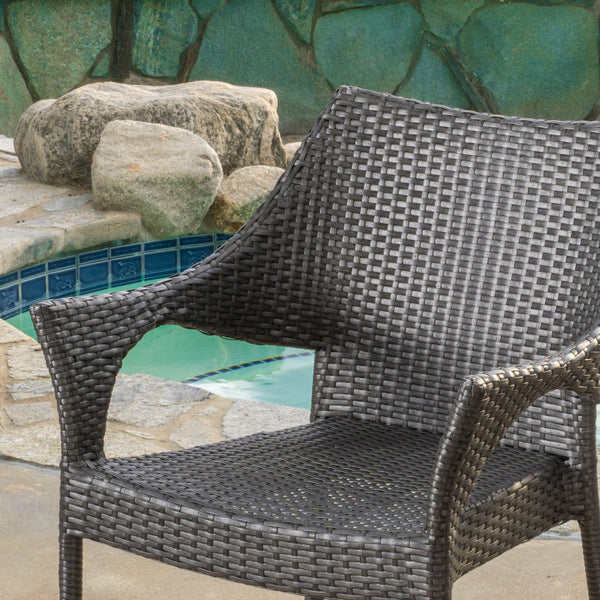 Alameda Outdoor Grey Wicker Chairs Set Of 2 Gdf Studio