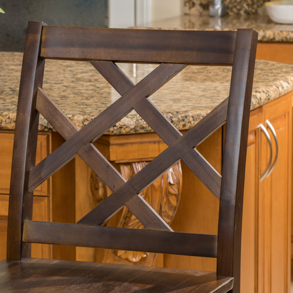 Scottsman Rustic Crossback Brown Mahogany Acacia Wood Counter Stools (Set of 2)