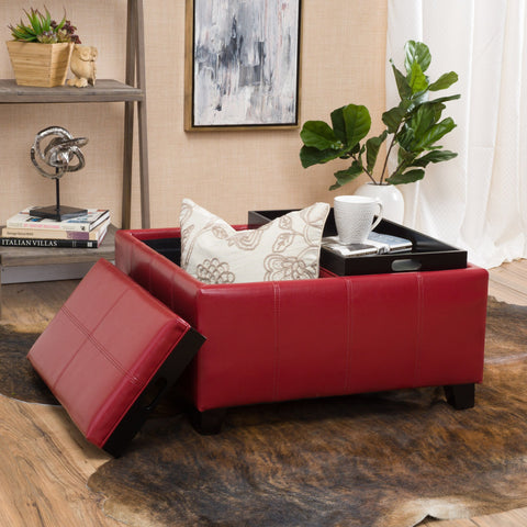 Justin 2 Tray Top Red Ottoman Coffee Table W/ Storage