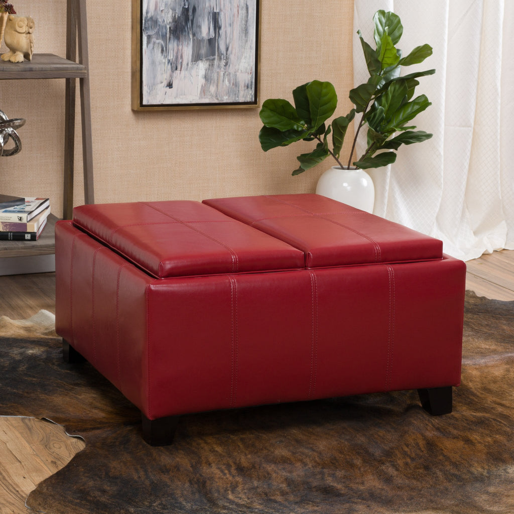 Justin 2 Tray Top Storage Ottoman Coffee Table Gdfstudio