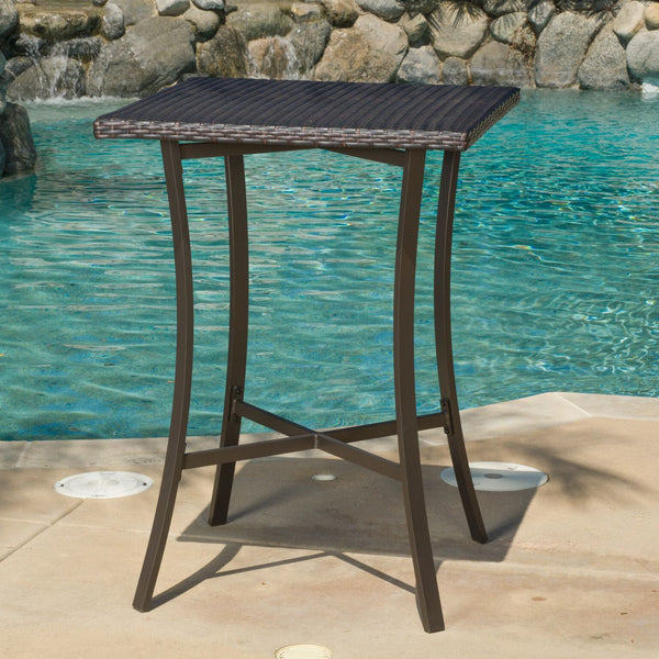 Cait Outdoor Square Multi-Brown Wicker Bar Table with Aluminum Frame