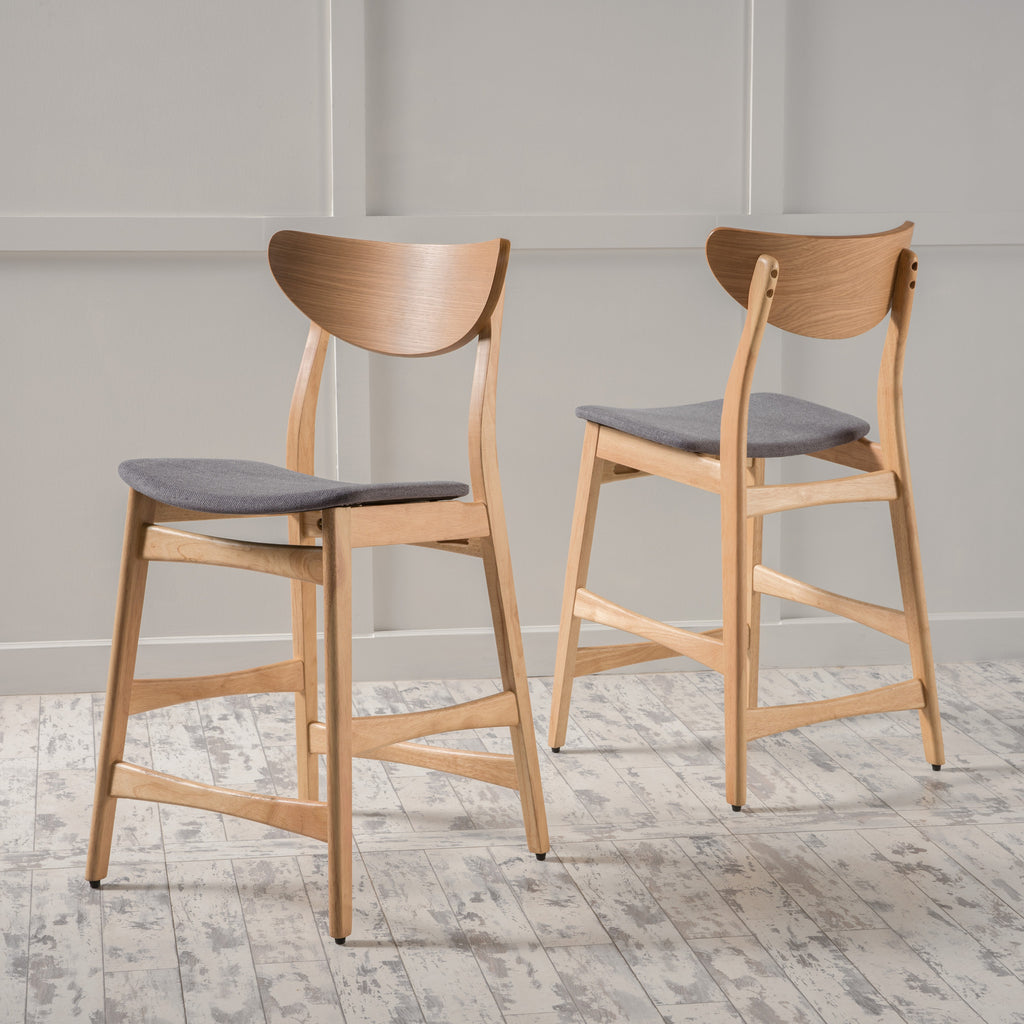 Molle Oak Finish Mid Century Design 24-Inch Counter Stools (Set of 2)