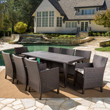 Cerrenne Outdoor 9 Piece Wicker Dining Set with Water Resistant Cushions