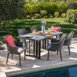 Athena Outdoor 7 Piece Wicker Dining Set with Concrete Dining Table