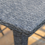Budva Outdoor Gray Wicker Bar Table