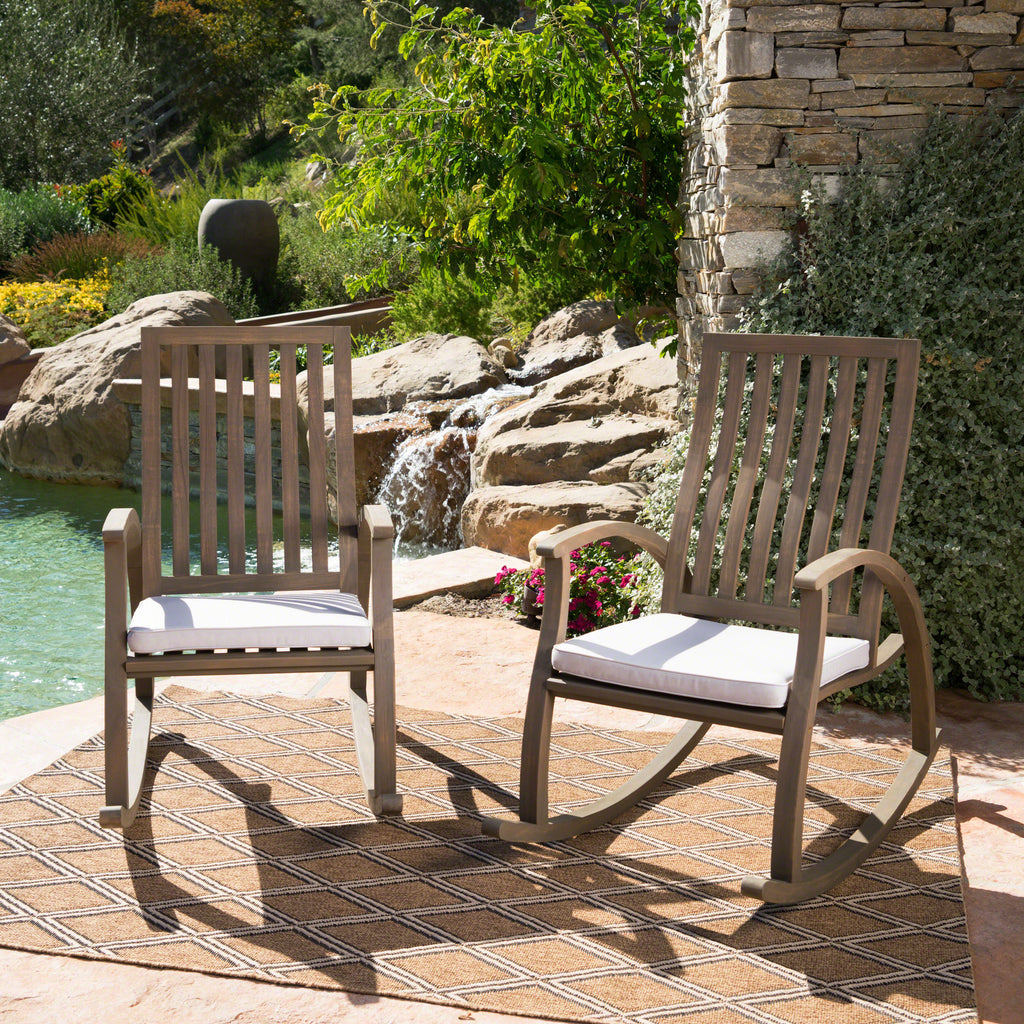 Cattan Outdoor Acacia Wood Rocking Chair with Water Resistant Cushions - Set of 2