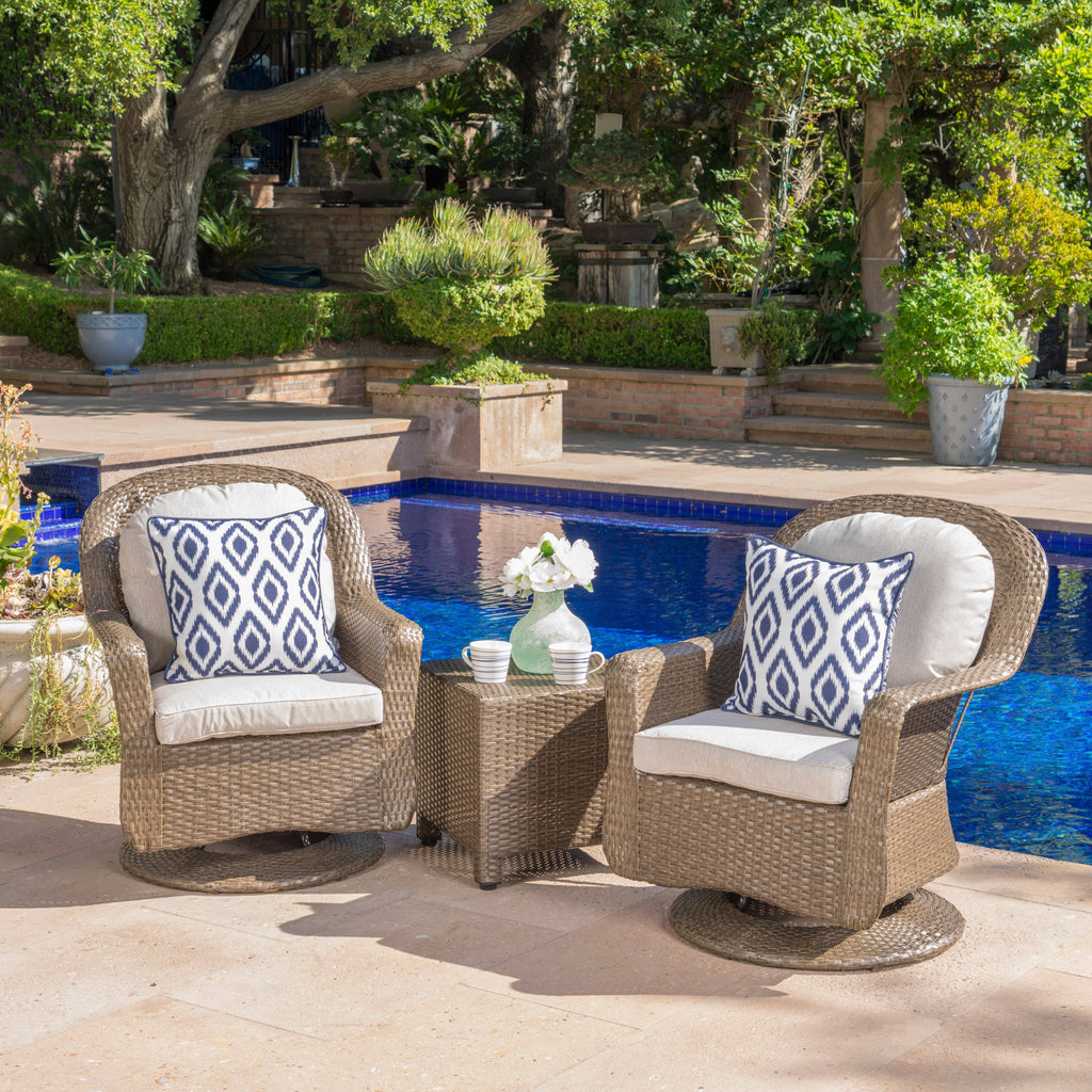 Linsten Outdoor Wicker Swivel Club Chairs And Side Table