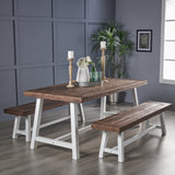 Angelina Indoor 3 Piece Finished Acacia Wood Picnic Set with Metal Finish Frame