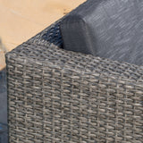 Lorita Outdoor 5-piece Grey Wicker Sectional Sofa Set with Black Cushions