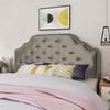 Falcon Contemporary Tufted New Velvet Queen/Full Headboard w/ Nailhead Accents