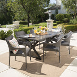 Graywood Outdoor 7 Piece Wicker Dining Set with Rectangular Aluminum Table