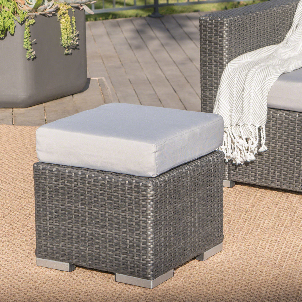 Santa Rosa Outdoor 16 Inch Wicker Ottoman Seat with Water Resistant Cushion