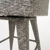 Elysium Outdoor Wicker Barstool with Water Resistant Cushions