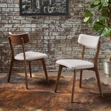 Turat Mid-Century Walnut Finished Frame Dining Chairs (Set of 2)