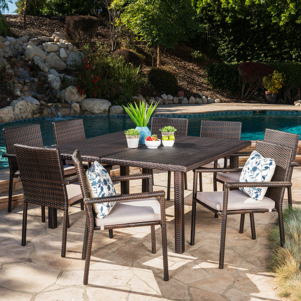 Aden Outdoor 9 Piece Wicker Dining Set with Water Resistant Cushions