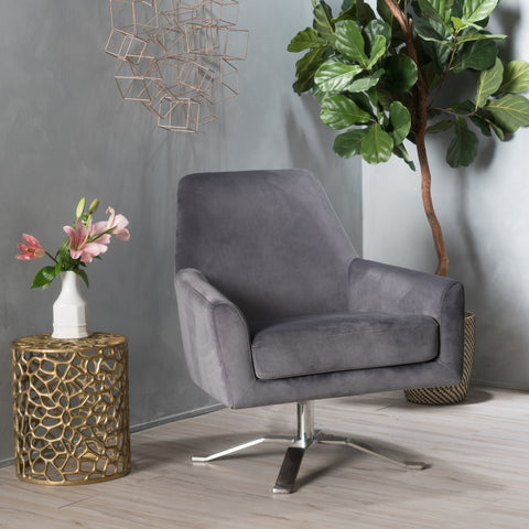 Aegis New Velvet Modern Swivel Armchair