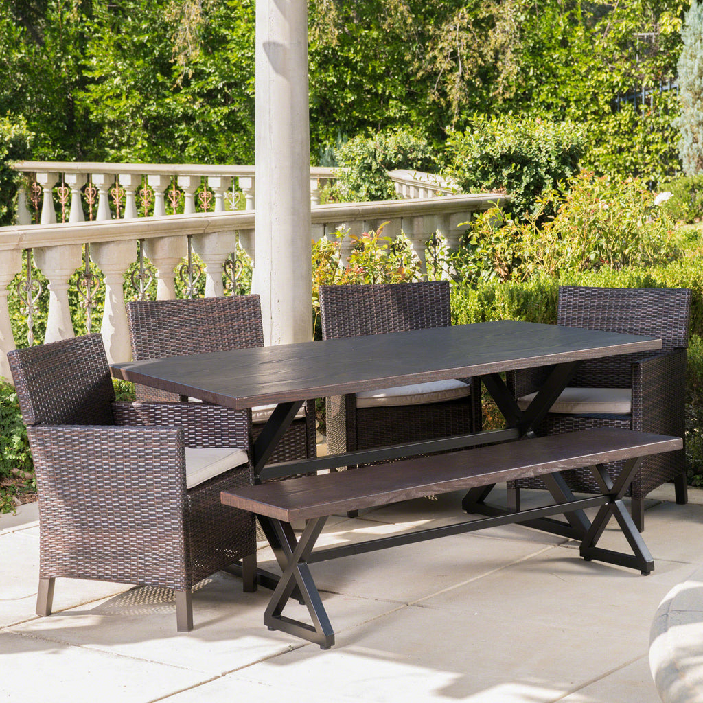 Ainna Outdoor 6 Piece Wicker Dining Set With Aluminum Dining Table U2013 GDF  Studio