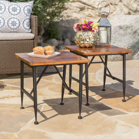 Ophelia Outdoor Industrial Acacia Wood Accent Table w/ Iron Accent