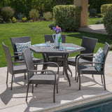 Basil Outdoor 7 Piece Wicker Hexagon Dining Set with Stacking Chairs