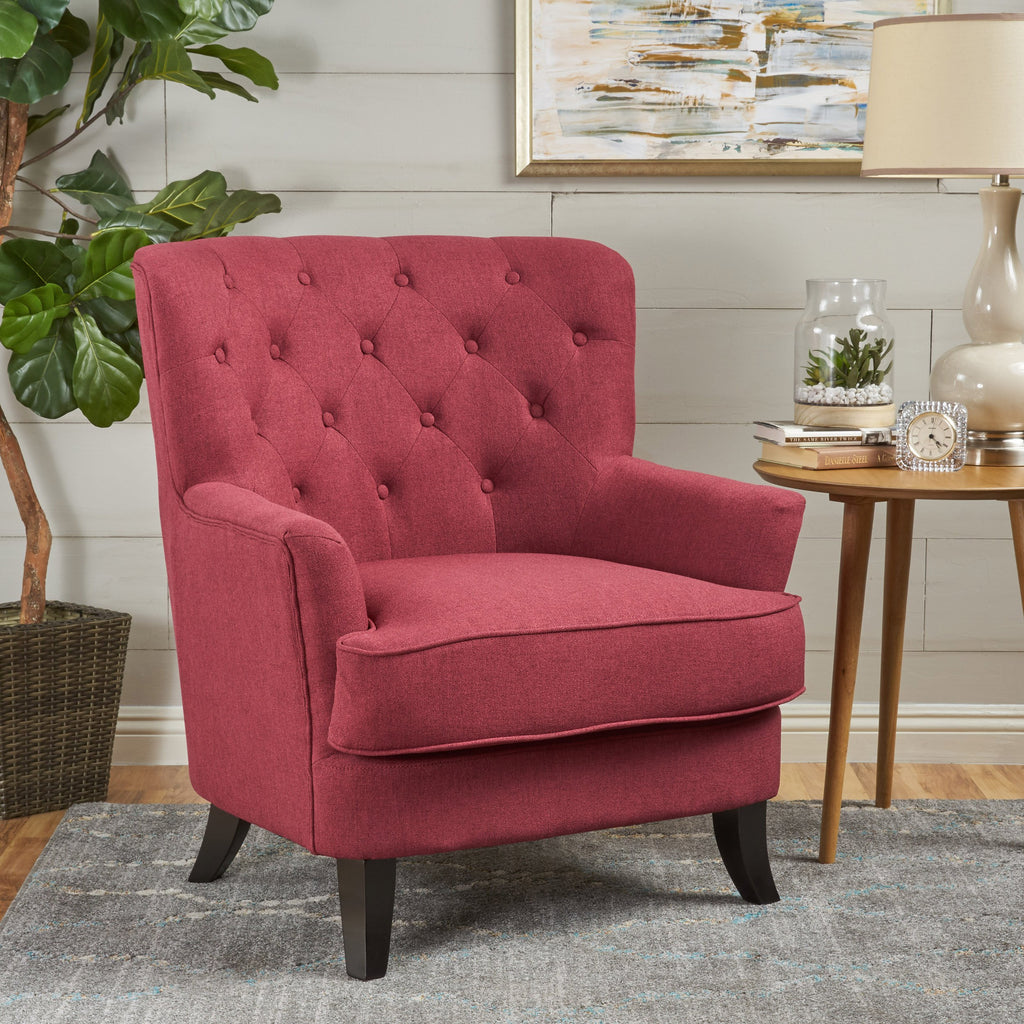 Annelia Contemporary Button Tufted Upholstered Fabric Club chair w/ Piped Edges