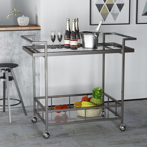 Brose Indoor Industrial Black Iron Bar Cart with Tempered Glass Shelves