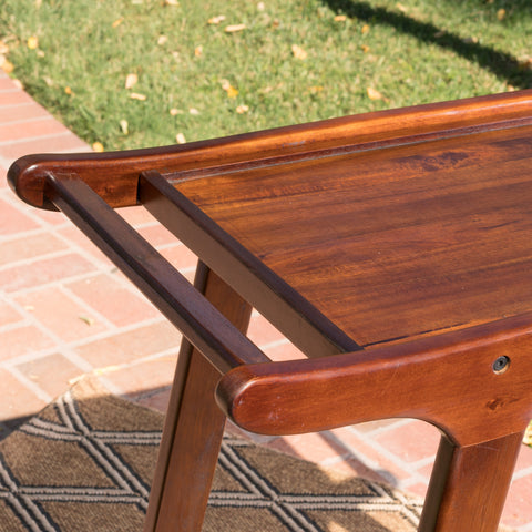 Azule Outdoor Rich Mahogany Finished Acacia Wood Barcart