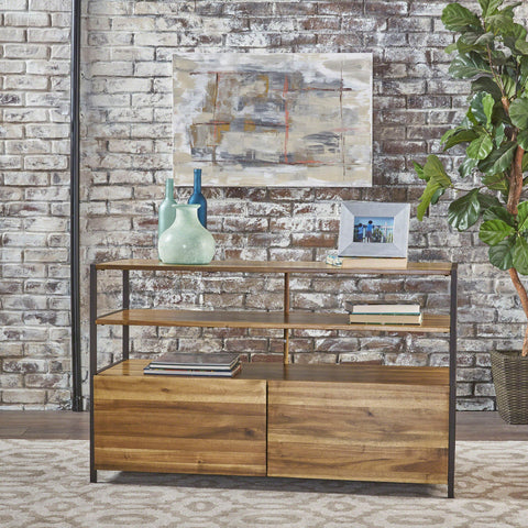Flossie Natural Stained Acacia Wood Cabinet With Rustic Finished Iron Accents
