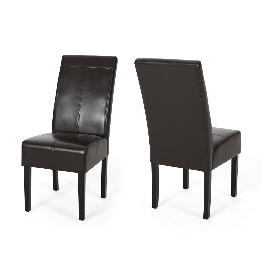 Percival T-Stitch Leather Dining Chairs (Set of 2)