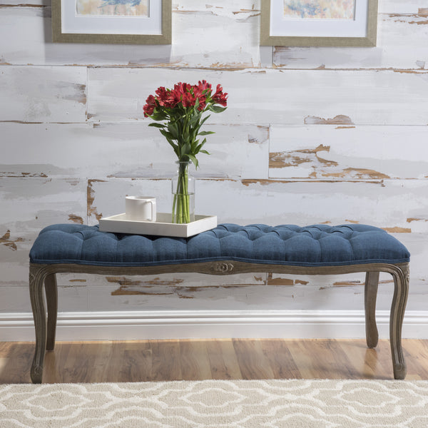 Tasette Tufted Royal Blue Fabric Bench