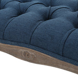 Tasette Traditional Button Tufted Fabric Bench