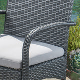 Portola Outdoor 3 Piece Grey Wicker Bistro Set with Cushions